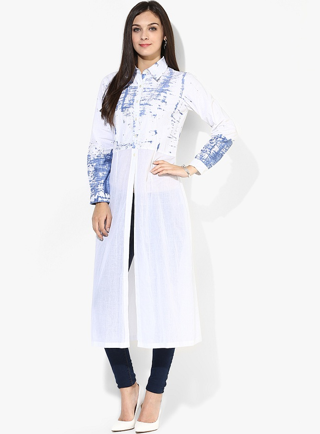 white-front-slit-cotton-kurti