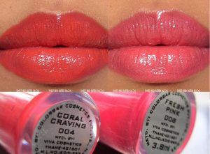 Colorbar True Gloss Fresh Pink Coral Craving Lip Swatch
