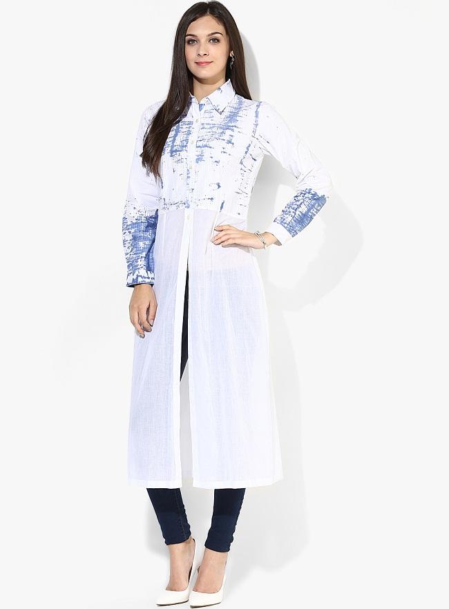 white-front-slit-cotton-kurti