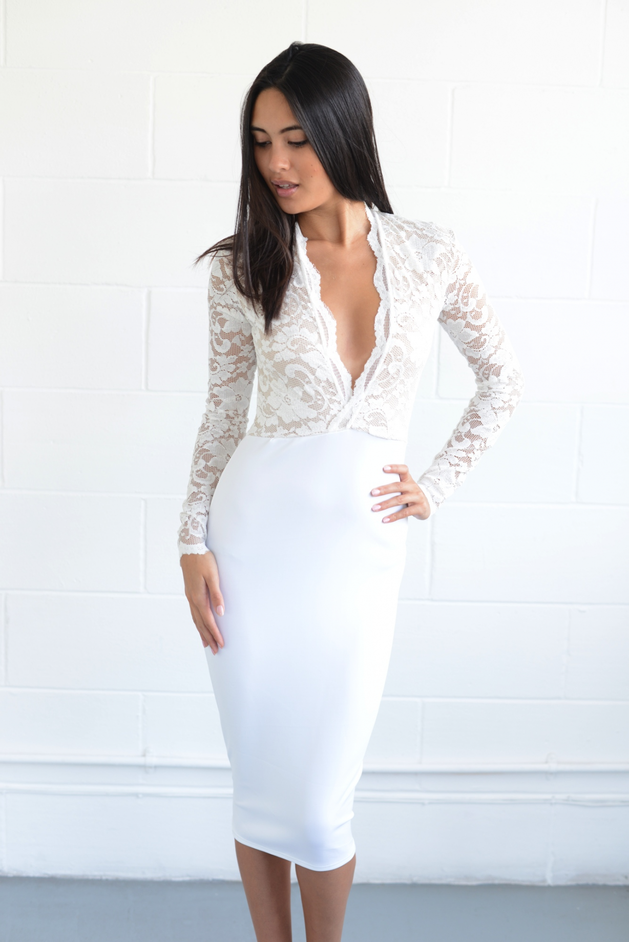 white-lace-low-cut-plunge-dress-4